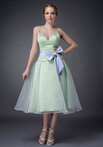 Spaghetti Straps Apple Green Tea-length Prom Dress with Puffy Hem and Sash