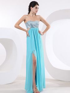 Sequin Chiffon Slitted Aqua Blue and Silver Prom Dress for Autumn in Style