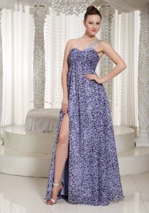 Plus Size Leopard Print Purple Slitted Long Prom Dress for Summer 2013