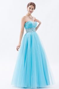Sweetheart Tulle Beaded Floor-length Prom Dresses in Baby Blue in Malvern