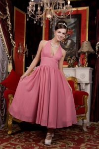 Plunging Halter Top Tea-length Rose Pink Prom Dress for Homecoming