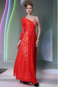 Beauteous Floor Length Column/Sheath Long Sleeves Coral Red Prom Gown Side Zipper