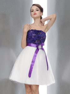 Unique Sleeveless Chiffon Knee Length Zipper Prom Dresses in White And Purple with Beading and Sashes ribbons