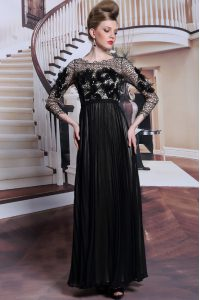 Black Chiffon Clasp Handle Asymmetric 3 4 Length Sleeve Asymmetrical Homecoming Dress Appliques and Sequins