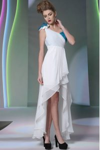 Amazing White Asymmetric Neckline Ruffled Layers and Sequins and Hand Made Flower Prom Dresses Sleeveless Side Zipper