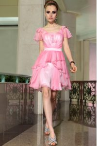 Rose Pink Cap Sleeves Mini Length Belt Side Zipper Evening Dress