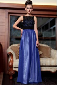 Fine Blue And Black Side Zipper Square Beading and Appliques Evening Dress Chiffon Sleeveless