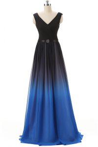 New Arrival Blue And Black Chiffon Lace Up Homecoming Dress Sleeveless Brush Train Beading