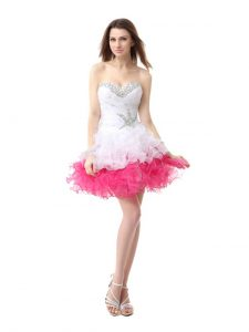 Pink And White Sweetheart Neckline Beading and Ruffles Homecoming Dress Sleeveless Lace Up