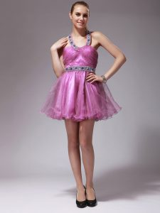 Gorgeous Rose Pink Halter Top Neckline Beading Prom Dresses Sleeveless Zipper
