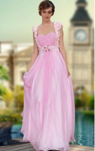 Dazzling Sleeveless Belt and Hand Made Flower Zipper Homecoming Dress