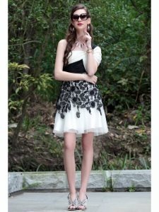 White And Black Criss Cross One Shoulder Lace Celebrity Style Dress Chiffon Sleeveless