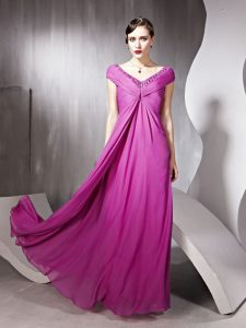 Chic Rose Pink Cap Sleeves Beading and Ruching Floor Length Red Carpet Prom Dress