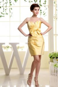 Gold Strapless Mini-length Prom Dresses with Bow in Beaumont TX
