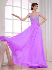 Beaded Straps Lavender Semi-formal Prom Dress in Nacogdoches TX