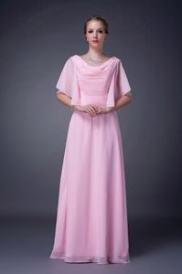 Wholesale Zipper-up Cowl Neck Beaded Pink Senior Prom Dress in Loose Style
