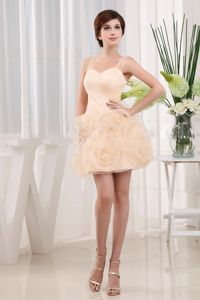 Pretty Spaghetti Straps Mini Dress for Prom in Peach with Rolling Flowers