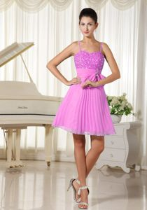 Spaghetti Straps Beaded Pleated Short Prom Dresses in Pink for Wholesale