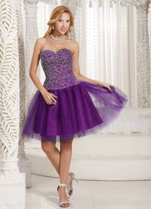 Simple Style Purple Short Prom Dress with Beaded Bodice with High Quality