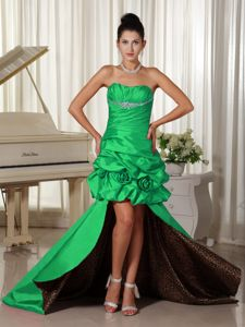 Taffeta Flowers High-low Green Dress for Prom with Leopard Print Inside