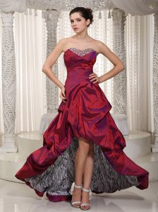 Cheap Zebra Print Inside High-low Wine Red Prom Dress with Beads and Pick-ups