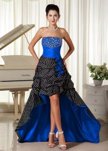 Newest High-low Polka Dots Beaded Multi-color Prom Dress with Pick-ups