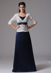 Brand New Satin Navy Blue Long Formal Prom Dresses with White Lace Coat