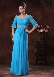 Pretty Square Neck Half Sleeves Sky Blue Long Prom Outfits with Beading