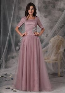 Plus Size Square Neck Short Sleeves Zipper-up Pink Prom Dress on Sale
