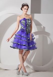 Discount Zebra Printed Strapless Organza Prom Dress with Layers