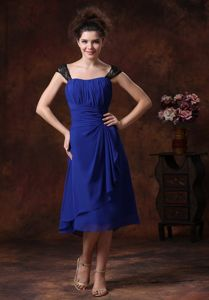 Ruched Navy Blue Square Neck Tea-length Dress for Prom with Lace in Cape Coral