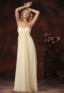 Light Yellow Sweetheart Ruched Floor-length Prom Dress with Zipper in Estes Park