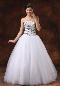 White Formal Prom Dresses Beaded Strapless Puffy Floor-length Lace Up in Carmel