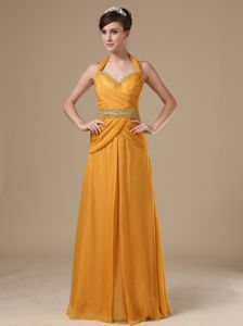 Orange Column Prom Outfits Halter Floor-length Beaded and Ruched in Burlingame
