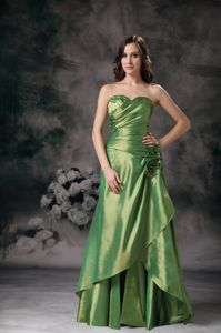 Ruched Sweetheart Olive Green Column Dresses for Prom Lace-up Back in Anaheim