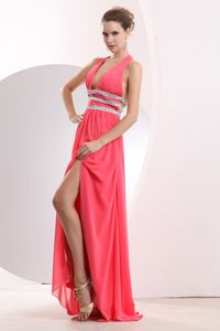 Halter Top Beaded Slitted Watermelon Red Long Prom Dress with Cool Back