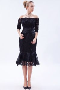 Off The Shoulder Lace Tea-length Black Prom Dress with Half Sleeves