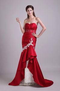 Mermaid Ruched Appliqued Formal Prom Dress for Slim Girls i Red and White