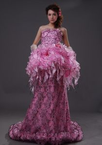 Special Design Pink Lace Sequin Formal Prom Dress with Peplum around 200