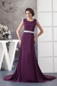 Modest Scoop Neck Dark Purple Formal Prom Gown Dress with Appliques