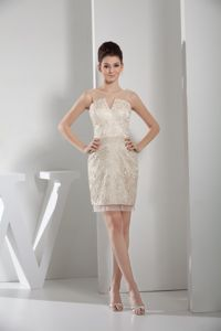 Noble Slot Neck Lace Mini Prom Dresses in Champagne on Sale