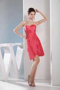 Simple Satin Ruched Watermelon Red Short Informal Prom Dress for 2014