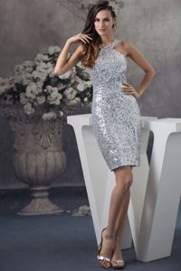 Shimmery Sheath Sequin Silver Short Prom Dress in The Mainstream Altus OK