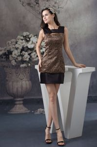 2014 Trendy Leopard Print Black and Brown Mini Dress for Prom Ada Oklahoma