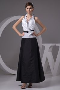 Simple Ankle-length Halter Top Black and White Prom Dress under 150