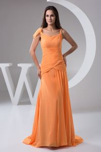 Zipper-up Chiffon Orange Long Senior Prom Dress for 2014 Party in Ashland OH