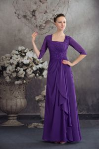 Square Neck Half Sleeves Beaded Purple Prom Dress in Bryson City USA