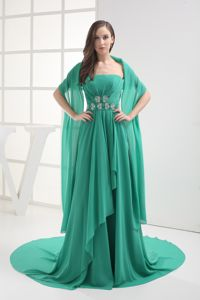 Turquoise Strapless Long Prom Outfits with Beaded Waist in North Dakota USA