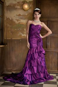 Purple Sweetheart Court Train Formal Prom Dress with Ruffles and Flowers