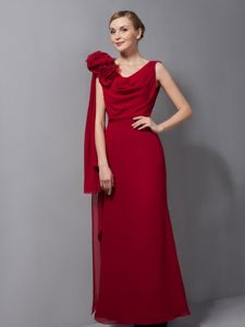 Wholesale Wine Red Column V-neck Long Prom Dresses with Flower
